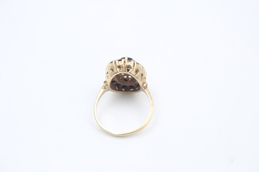 vintage 9ct gold sapphire halo dress ring 4.7g - Image 3 of 4