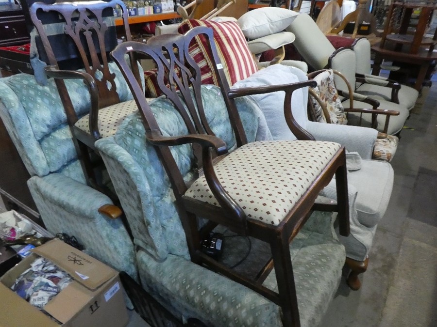 Two dining carver chairs with red and green diamond seats