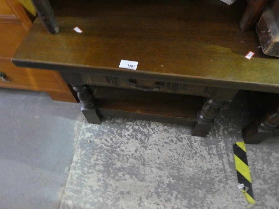 Pair of tables with draws manufactured by Younger