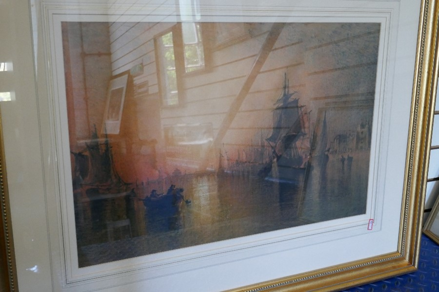 F.G Hart an antique watercolour of ships at dusk, signed 64x42cms approx - Image 4 of 4