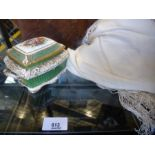 A Royal Worcester oblong pot and lid and floral embroidered silk shawl and a leather embossed glove