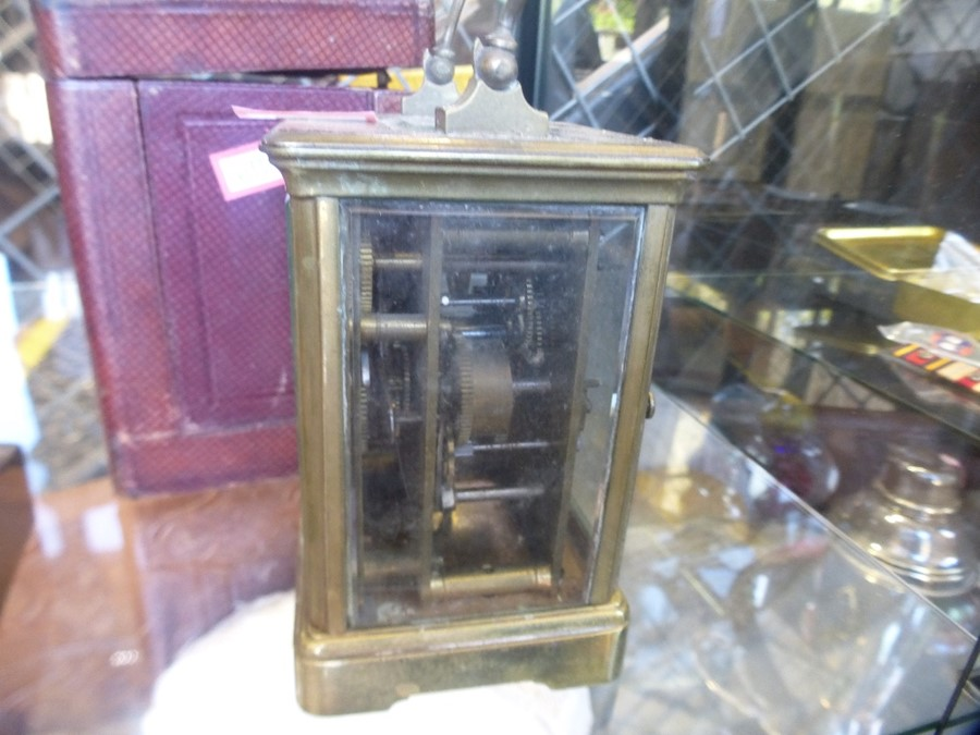 An old brass miners lamp, a carriage clock and a brass lighthouse lamp - Image 3 of 4