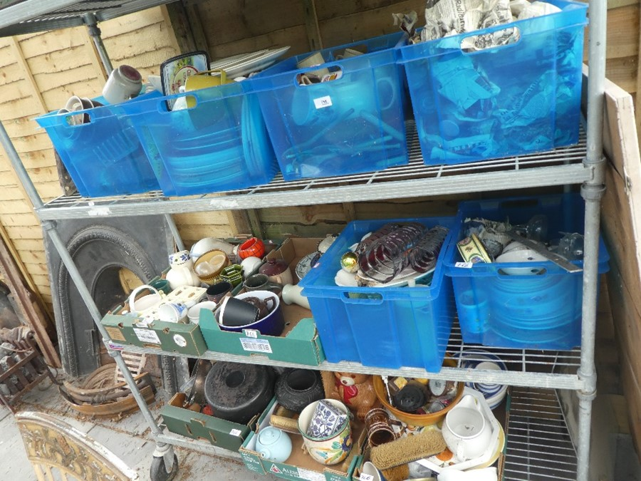 11 boxes of china, glass and sundries to include vases, jugs, plates, copper ware etc
