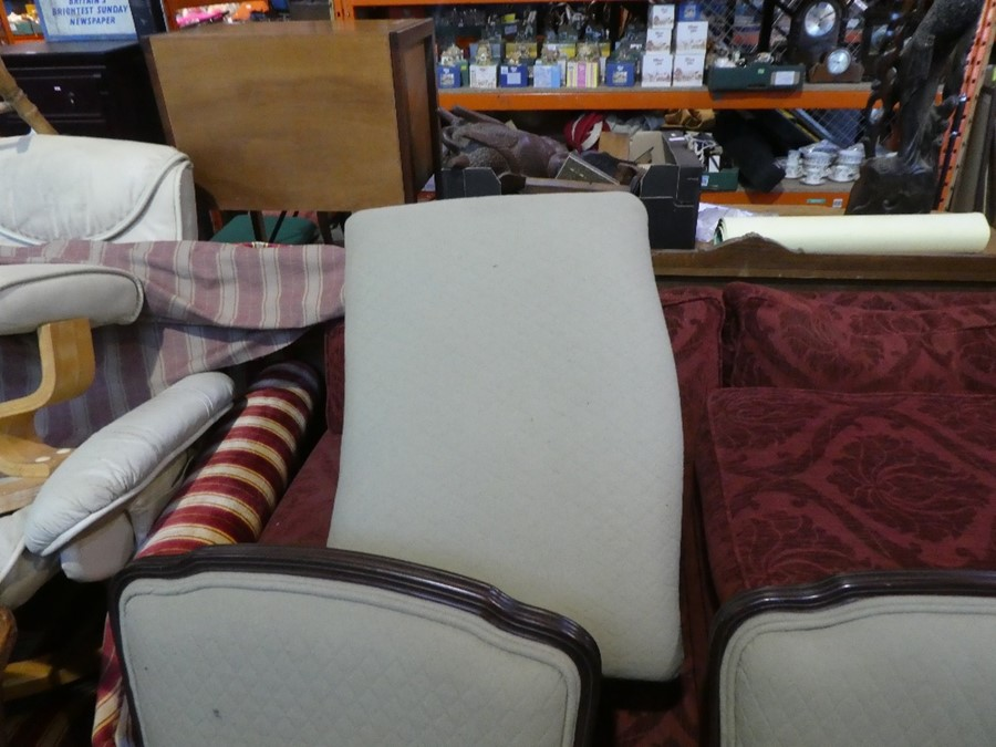 2 green fabric upholstered large lounge armchairs and a matching footstool. - Image 6 of 6