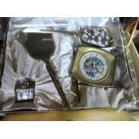 A vintage boxed gilt bedroom set to include mirror, brush, clock and perfume bottle, Royal Vale ware