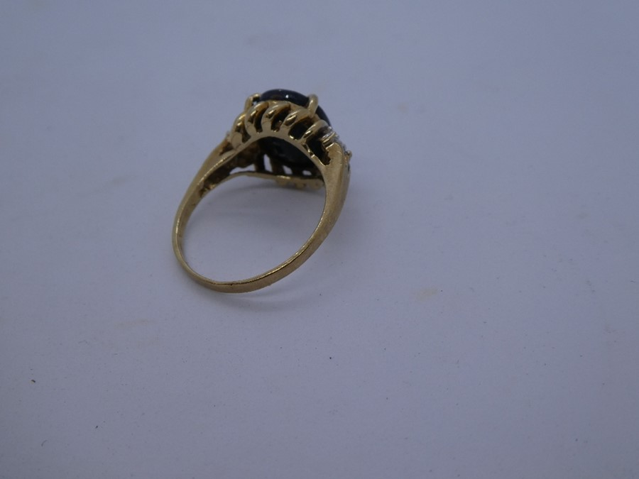 vintage 9ct gold sapphire & diamond dress ring 3.6g - Image 4 of 4