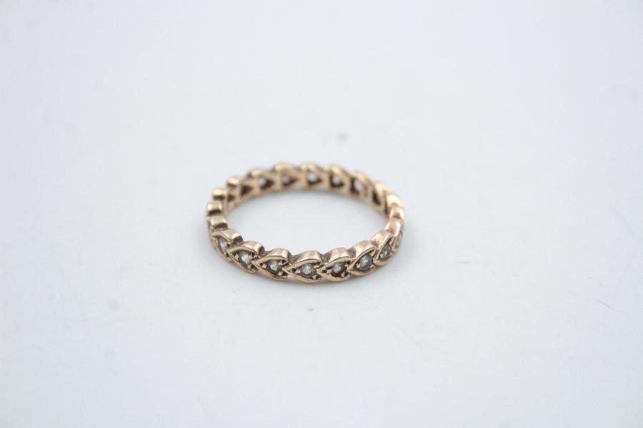 vintage 9ct gold gemstone eternity ring 2.2g - Image 3 of 4