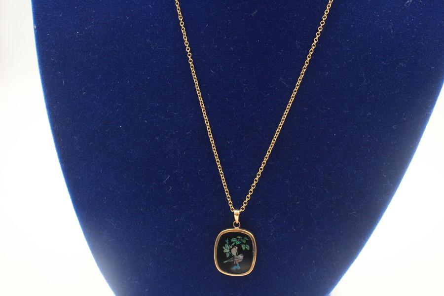 vintage 9ct gold Australian opal mosaic pendant necklace 2.8g - Image 3 of 4