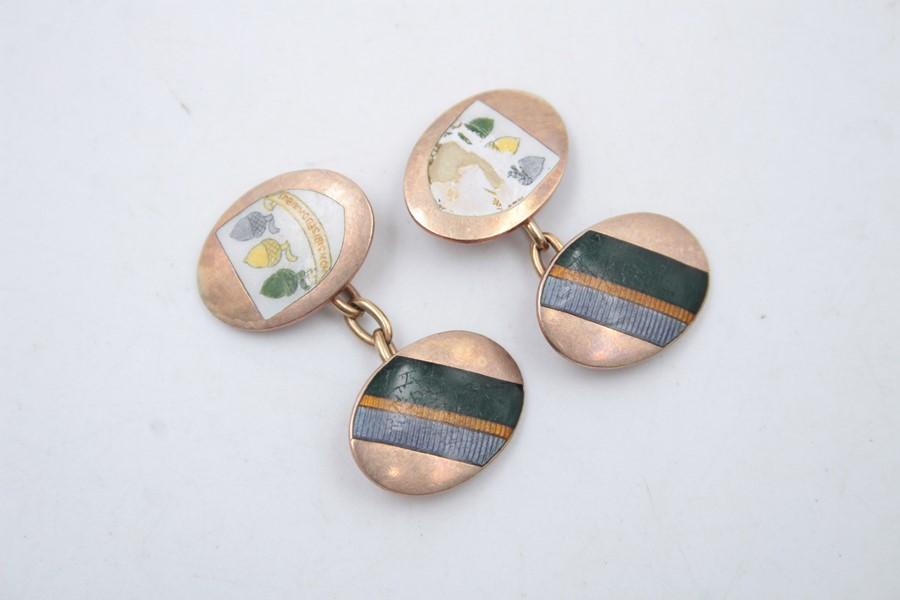 9ct Gold enamel cufflinks 6.4g