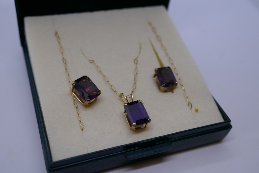 9ct yellow gold fine chain hung with a square amethyst pendant together with a pair matching earring - Image 2 of 2