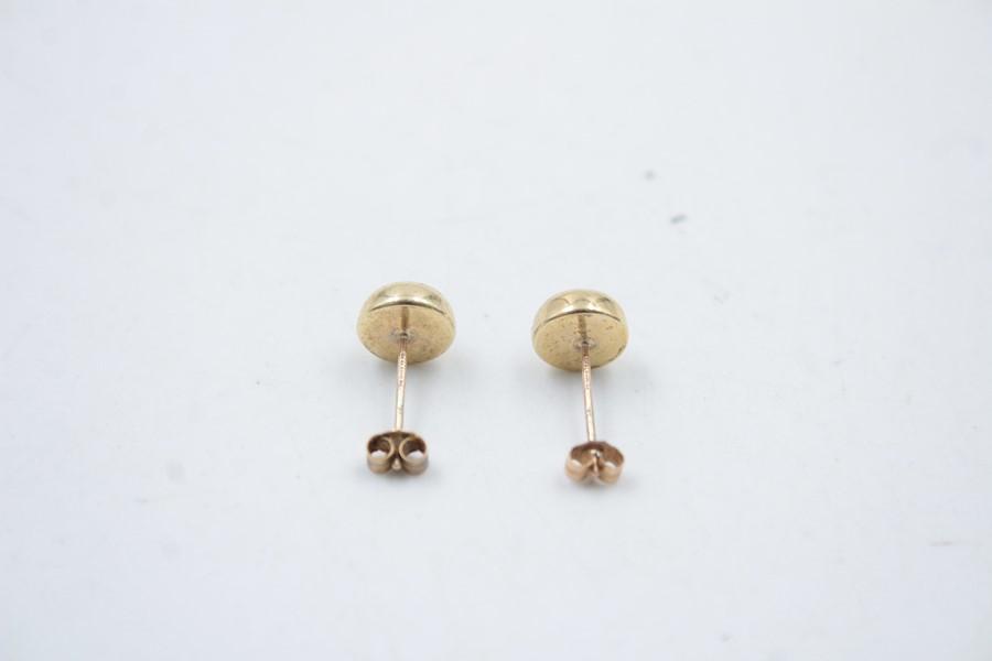 9ct Gold lapis lazuli stud earrings 1g - Image 2 of 4