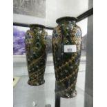 Two decorative glazed vases with twisted flower design AF