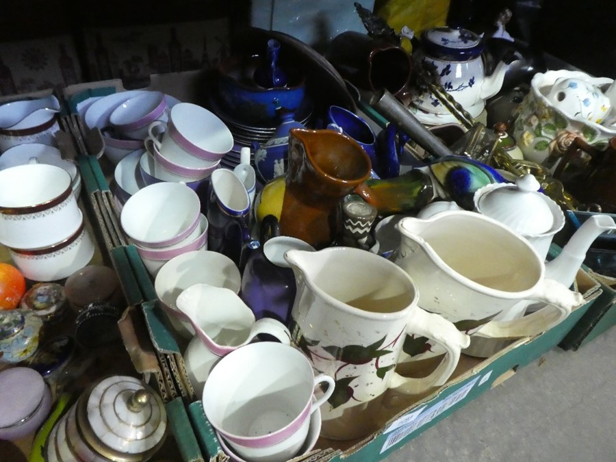 Three boxes of china ware and collectables to include teaware, jugs, brass items, ornaments, etc - Image 2 of 3
