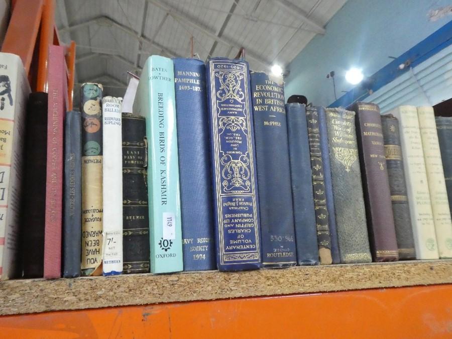 Shelf of mostly hardback books on various themes