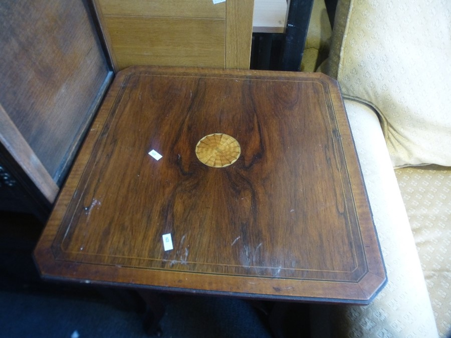 A Small carved oak coffer and an Edwardian 2 tier occasional - Image 2 of 3