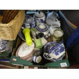 A shelf of sundry items to include china, Wedgwood, teapots, chess pieces, Polaroid camera and vinta