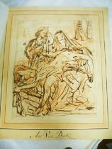 Flemish School, late 17th Century The Lamentation of Christ brown ink and red chalk on paper l