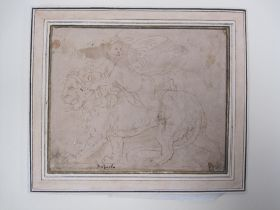 After Giulio Romano (c.1499-1546) A winged cherub on the back of a Lion, bears ink inscrip
