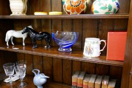 Two Beswick horses, a Caithness bowl decorated Dolphins and a Spode Coronation tankard
