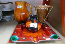 Poole pottery plate AF, Poole Pottery vase, Crown Ducal jug and another Art Deco jug