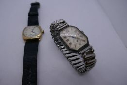 A Waltham 9ct gold Gent's wristwatch and one other watch by 'A Heberitin and Co', ladies in silver c