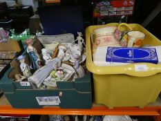 Two boxes of mixed china and pottery including Aynsley