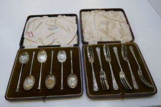 A cased set of six silver spoons and six silver cake forks case AF. All hallmarked, weight total app