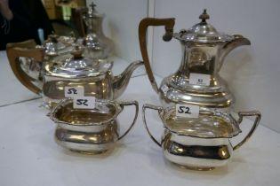 An impressive silver four piece tea service C W Fletcher and Son Ltd, comprising a teapot, hot water