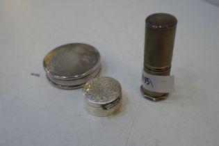 A very nice lot comprising a silver engine turned lipstick hallmarked Birmingham Aaron Lufkin Dennis