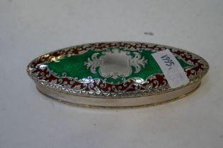 A really pretty, impressive, silver and Edwardian trinket box with lovely, decorative green and red