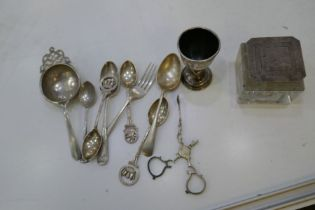 A selection of silver flatware including Royal Naval Rifle Association spoons, sifter, etc, AF, a si