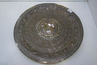 A very large, heavy silver moonstone tray, repoussed on low relief with some chased detailing. With