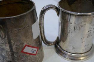Two silver tankards, one hallmarked Birmingham 1933 Joseph Gloster Ltd, the other Birmingham 1946 E