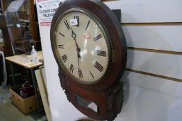A Victorian mahogany drop dial wall clock, (no movement)