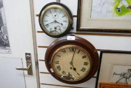 Vintage mahogany faced wall clock and black metal framed ex