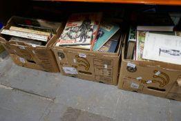 Three boxes of vintage books of war, guns, etc