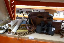 Collectables to include leather cased binoculars, Masonic aprons, scrolls, four framed and glazed pr