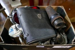 A tray of silverplate and few pairs of binoculars