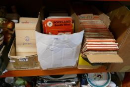 Three boxes of vintage Ordnance Survey maps from the 1920s onwards and cigarette cards