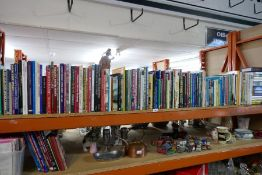 A shelf of mostly hardback books including vintage railway, classic cars, etc, including a box of Or