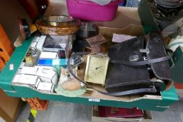 Boxed mixed items to include various ladies perfumes, mantle clock cased Hanimex binoculars