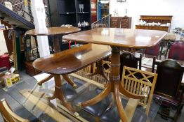 WITHDRAWN A reproduction square side table, a similar tripod table and a coffee table on splay legs