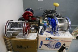 A Penn No 149 Deep Sea fishing reel and 3 other reels