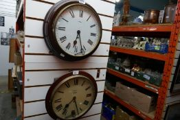 Smits 8 day mahogany cased wall clock, another and vintage oak wall hanging display case