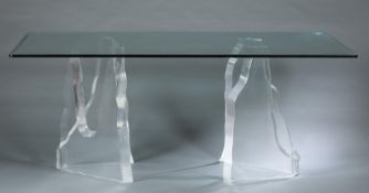 """Lion in Frost style """"Iceberg"""" Lucite table."""