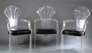 3 Hollywood Regency Hill Mfg. Co. acrylic chairs.