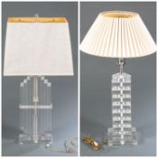 2 Hollywood Regency Bauer Lucite acrylic lamps.
