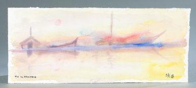 Merton D. Simpson, Landscape, 1988, Watercolor.