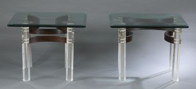 Pair of rosewood and Lucite coffee tables.