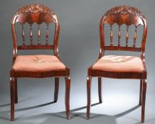 Pair of Gothic Revival sidechairs, c. 1850-70.